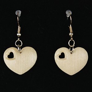 3813 - Earrings heart with heart hole hanging