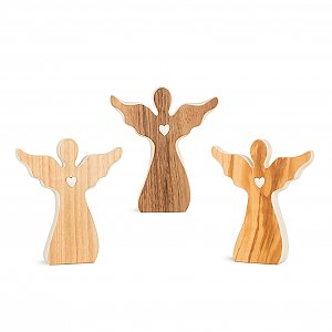 WA7362 - Wood veneer angel with heart