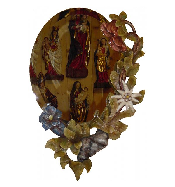 4720 - Mirror made in wood  (alpine flowers)
